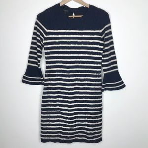 Talbots striped sweater dress with bell sleeves
